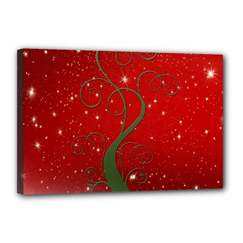 Christmas Modern Day Snow Star Red Canvas 18  x 12