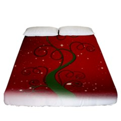 Christmas Modern Day Snow Star Red Fitted Sheet (california King Size)