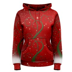 Christmas Modern Day Snow Star Red Women s Pullover Hoodie