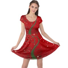 Christmas Modern Day Snow Star Red Cap Sleeve Dresses