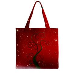Christmas Modern Day Snow Star Red Zipper Grocery Tote Bag