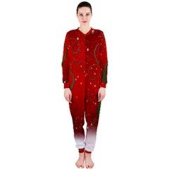 Christmas Modern Day Snow Star Red OnePiece Jumpsuit (Ladies)
