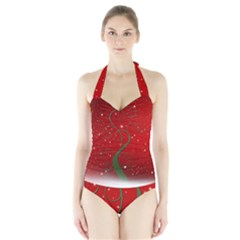 Christmas Modern Day Snow Star Red Halter Swimsuit
