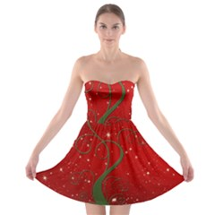 Christmas Modern Day Snow Star Red Strapless Bra Top Dress