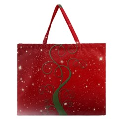 Christmas Modern Day Snow Star Red Zipper Large Tote Bag