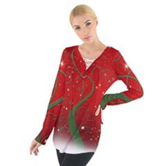 Christmas Modern Day Snow Star Red Women s Tie Up Tee
