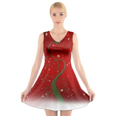Christmas Modern Day Snow Star Red V Neck Sleeveless Skater Dress