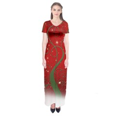 Christmas Modern Day Snow Star Red Short Sleeve Maxi Dress