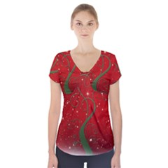 Christmas Modern Day Snow Star Red Short Sleeve Front Detail Top