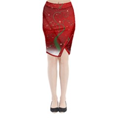 Christmas Modern Day Snow Star Red Midi Wrap Pencil Skirt