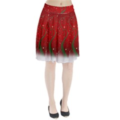 Christmas Modern Day Snow Star Red Pleated Skirt