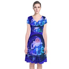 Christmas Nicholas Ball Short Sleeve Front Wrap Dress