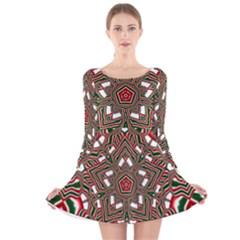 Christmas Kaleidoscope Long Sleeve Velvet Skater Dress