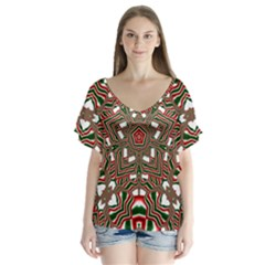 Christmas Kaleidoscope Flutter Sleeve Top