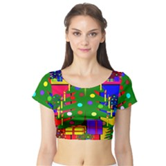 Christmas Ornaments Advent Ball Short Sleeve Crop Top (tight Fit)