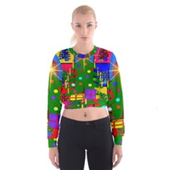 Christmas Ornaments Advent Ball Women s Cropped Sweatshirt
