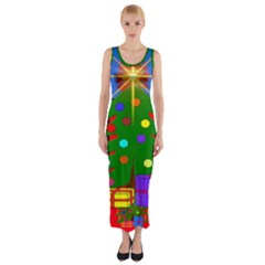 Christmas Ornaments Advent Ball Fitted Maxi Dress