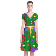 Christmas Ornaments Advent Ball Short Sleeve Front Wrap Dress