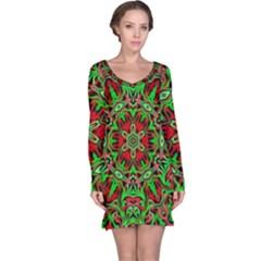 Christmas Kaleidoscope Pattern Long Sleeve Nightdress
