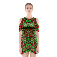 Christmas Kaleidoscope Pattern Shoulder Cutout One Piece