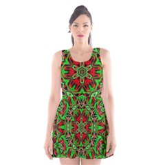 Christmas Kaleidoscope Pattern Scoop Neck Skater Dress