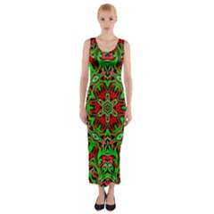 Christmas Kaleidoscope Pattern Fitted Maxi Dress