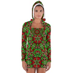 Christmas Kaleidoscope Pattern Women s Long Sleeve Hooded T Shirt