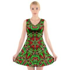 Christmas Kaleidoscope Pattern V-Neck Sleeveless Skater Dress
