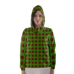 Christmas Paper Wrapping Patterns Hooded Wind Breaker (women)