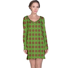 Christmas Paper Wrapping Patterns Long Sleeve Nightdress