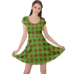 Christmas Paper Wrapping Patterns Cap Sleeve Dresses