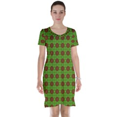 Christmas Paper Wrapping Patterns Short Sleeve Nightdress