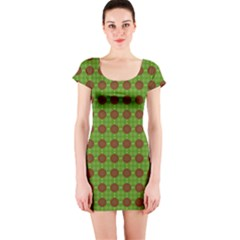 Christmas Paper Wrapping Patterns Short Sleeve Bodycon Dress