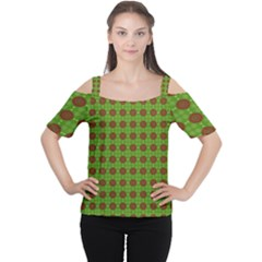 Christmas Paper Wrapping Patterns Women s Cutout Shoulder Tee