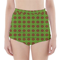 Christmas Paper Wrapping Patterns High-Waisted Bikini Bottoms