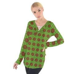 Christmas Paper Wrapping Patterns Women s Tie Up Tee