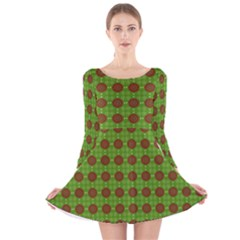 Christmas Paper Wrapping Patterns Long Sleeve Velvet Skater Dress