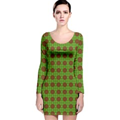 Christmas Paper Wrapping Patterns Long Sleeve Velvet Bodycon Dress