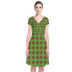 Christmas Paper Wrapping Patterns Short Sleeve Front Wrap Dress