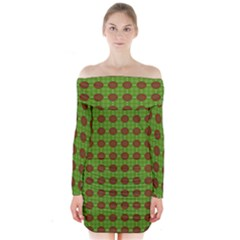 Christmas Paper Wrapping Patterns Long Sleeve Off Shoulder Dress