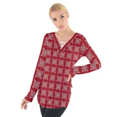 Christmas Paper Pattern Women s Tie Up Tee