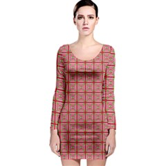 Christmas Paper Wrapping Pattern Long Sleeve Bodycon Dress