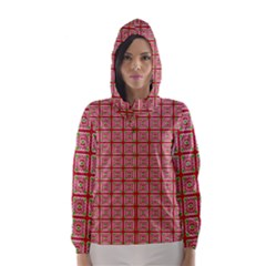 Christmas Paper Wrapping Pattern Hooded Wind Breaker (Women)
