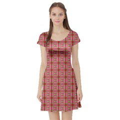 Christmas Paper Wrapping Pattern Short Sleeve Skater Dress