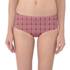 Christmas Paper Wrapping Pattern Mid Waist Bikini Bottoms