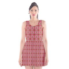 Christmas Paper Wrapping Pattern Scoop Neck Skater Dress