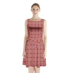 Christmas Paper Wrapping Pattern Sleeveless Chiffon Waist Tie Dress