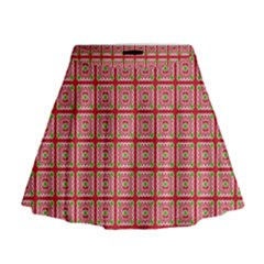 Christmas Paper Wrapping Pattern Mini Flare Skirt