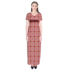 Christmas Paper Wrapping Pattern Short Sleeve Maxi Dress