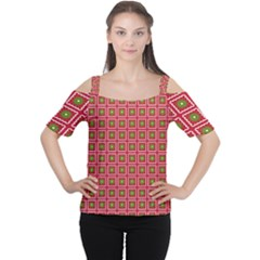 Christmas Paper Wrapping Women s Cutout Shoulder Tee